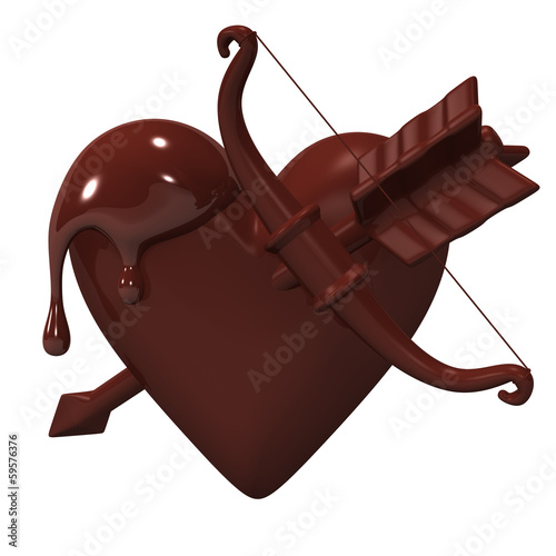 Heart-ShapedChocolateWhichBowAndArrowIsStuck