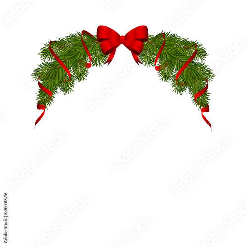 новогоднее оформление из елочных веток с бантом и лентами