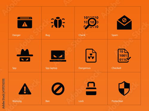 Security icons on orange background.