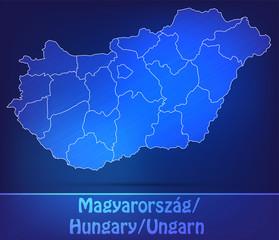Grenzkarte von Ungarn mit Grenzen in einfarbig Scribble