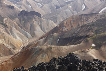 Iceland. South area. Fjallabak. Volcanic landscape with rhyolite