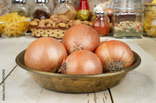 Onions  in copper tray