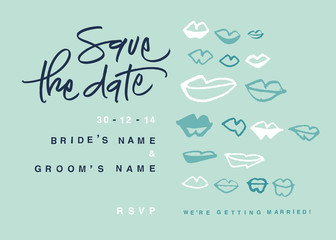 Hand-written Save the Date with kisses