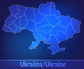 Grenzkarte von Ukraine mit Grenzen in einfarbig Scribble