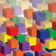 Colorful Abstract 3D Cubes Background for Technology or Business