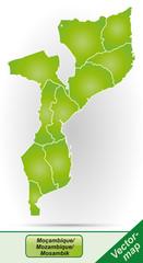Grenzkarte von Mosambik mit Grenzen in Grün