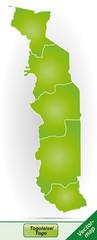 Grenzkarte von Togo mit Grenzen in Grün