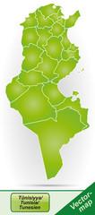Grenzkarte von Tunesien mit Grenzen in Grün