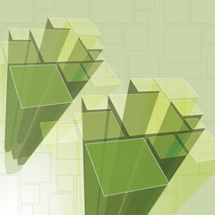 Abstract Transparent Green Prisms Background Vector