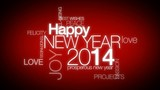Happy New Year 2014 greeting words tag cloud animation