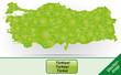 Grenzkarte von Tuerkei mit Grenzen in Grün