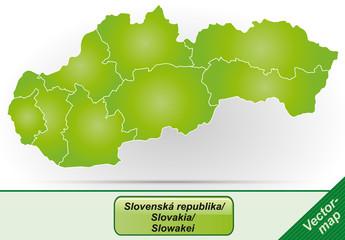 Grenzkarte von Slowakei mit Grenzen in Grün