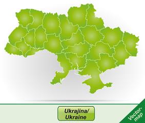 Grenzkarte von Ukraine mit Grenzen in Grün