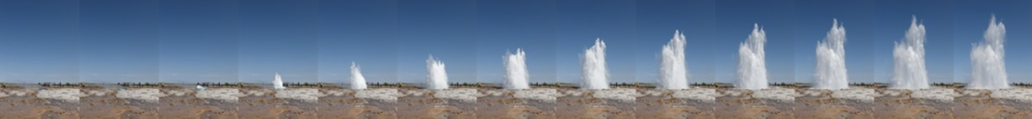 Iceland. South area. Golden Circle. Strokkur geyser. Thermal spr