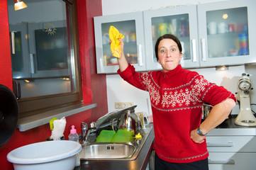 Zornige Hausfrau
