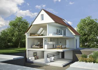 Einfamilienhaus aufgeschnitten möbliert