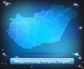 Ungarn mit Grenzen in leuchtend einfarbig