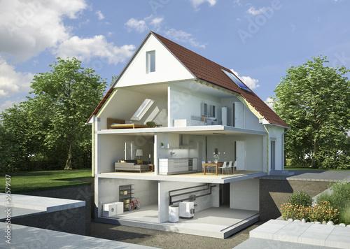 Leinwanddruck Bild Einfamilienhaus aufgeschnitten möbliert
