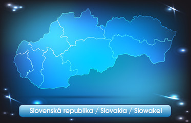Slowakei mit Grenzen in leuchtend einfarbig