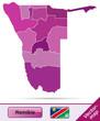 Grenzkarte von Namibia mit Grenzen in Violett