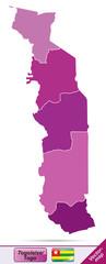 Grenzkarte von Togo mit Grenzen in Violett