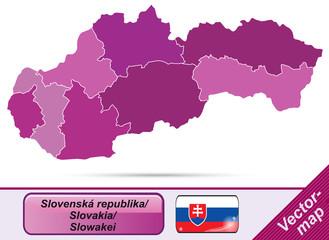 Grenzkarte von Slowakei mit Grenzen in Violett