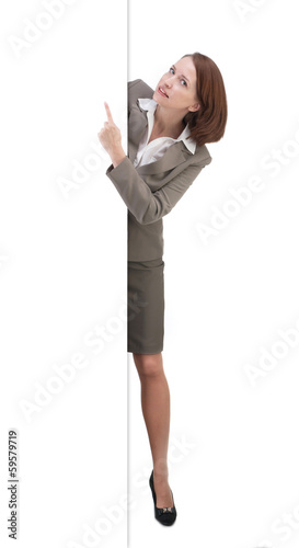 Pretty business woman in gray suit isolated on white background