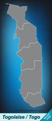 Grenzkarte von Togo mit Grenzen in leuchtend grau