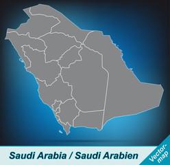 Saudi-Arabien mit Grenzen in leuchtend grau