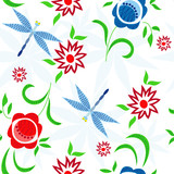 Illustration of seamless pattern with dragonflies