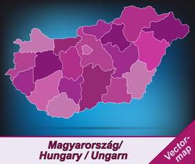 Grenzkarte von Ungarn mit Grenzen in Violett