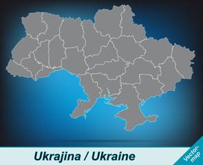 Ukraine mit Grenzen in leuchtend grau