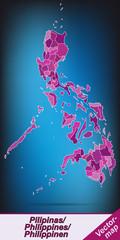 Grenzkarte von Philippinen mit Grenzen in Violett
