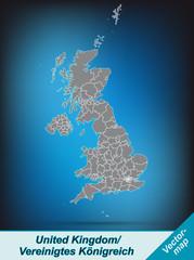 Grenzkarte von England mit Grenzen in leuchtend grau