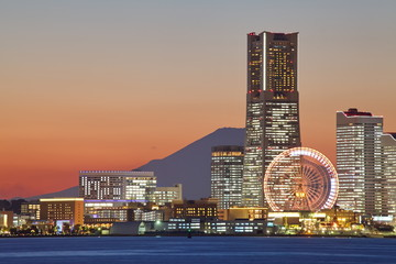 Yokohama city over the Mt. Fuji