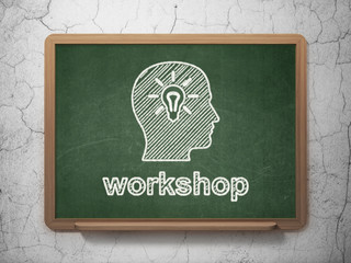 Education concept: Head With Light Bulb and Workshop on