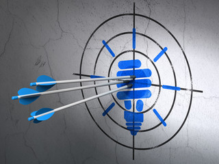 Business concept: arrows in Energy Saving Lamp target on wall