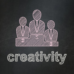 Marketing concept: Business Team and Creativity on chalkboard