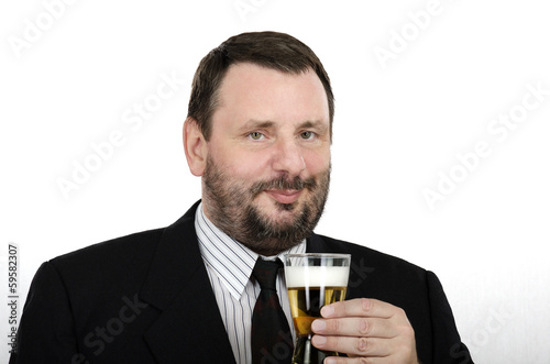 Office man holding lager glass