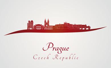 Prague skyline in red