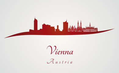 Vienna skyline in red