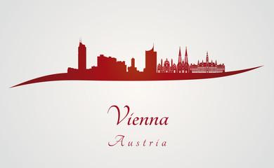 Vienna skyline in red