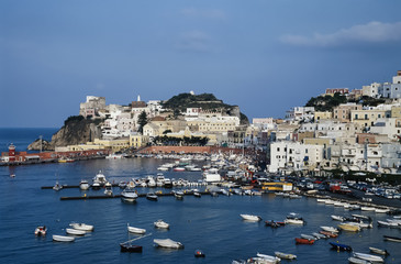 Italy, Ponza Island, panoramic view of the port