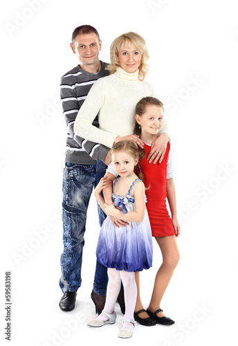 Portrait of beautiful smiling happy family of fou