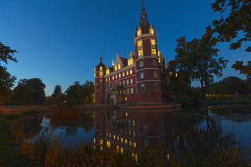 Castle of Bad Muskau in blue hour, a world heritage