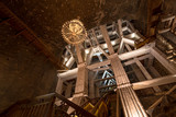 scaffolding in a salt mine in Poland