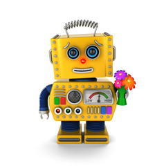 Cute vintage robot sending a get well wish