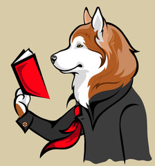 vector drawing of the dog reading a book