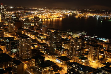 Nighttime in Seattle, USA