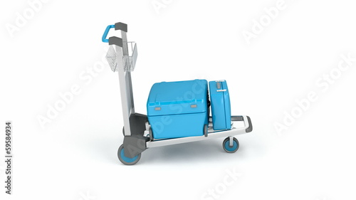 Airport trolley with blue suitcases rotates on white background
